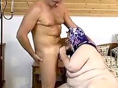 Obese mature maid sucks young dick