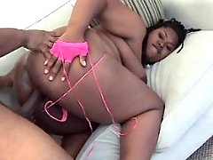 Horny man deep fucks ebony fatty
