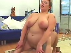 Frisky fat housewife fucks on floor