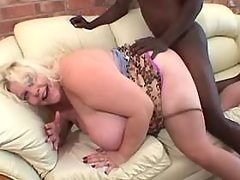 Blonde fatty gets cum on huge boobs