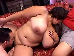 Horny men share chubby mature vixen