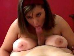 Pretty chubby girl titfucks n sucks