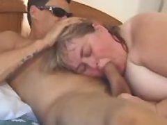Giant fatty w big tits sucking cock
