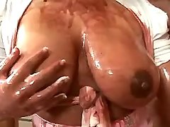 Chesty latin maid sucks huge cock