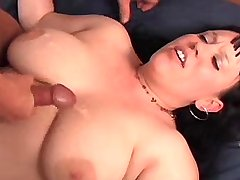 Busty plumper gets juicy cum on bed