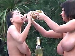 Breasty babes in champagne splashes