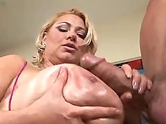 Mature with huge boobs plays w cock