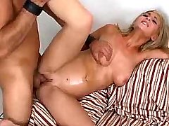 Sweet chesty hottie fucking on sofa