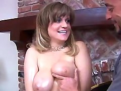 Man plays w big tits of sexy chick
