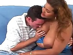 Chubby ebony w huge tits tempts guy