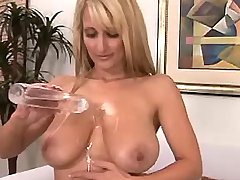 Goddess shows her big oiled boobs