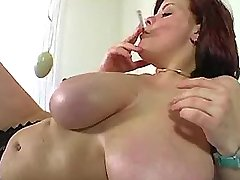 Chesty plump chick enjoys sextoys