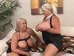 Big woman spoils busty plump girl