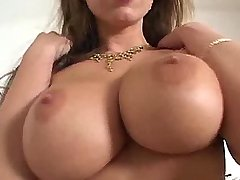 Beautiful lady shows her huge boobs