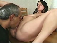 Pregnant brunette sucks tasty cock